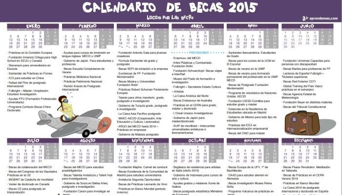Foto de Locos por las Becas reúne en un calendario las principales convocatorias de 2015